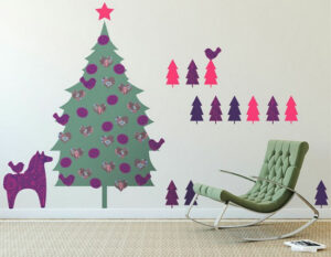 Decoración navideña de paredes con vinilos
