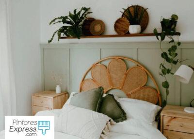 Dormitorio verde pintado por profesionales de la pintura